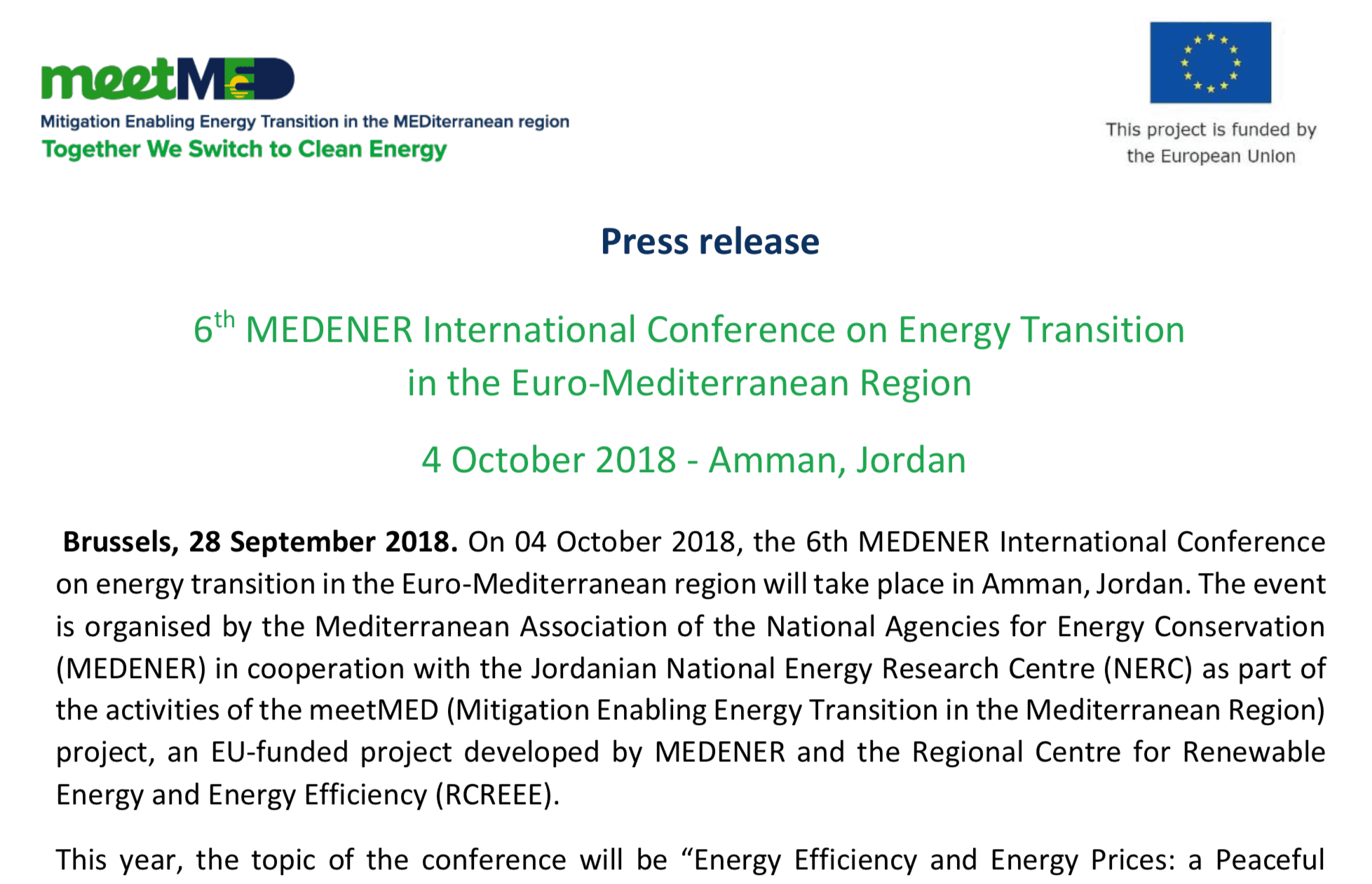 6th MEDENER International Conference on Energy Transition in the Euro-Mediterranean Region